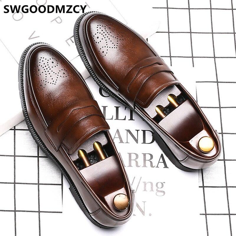 Zapatos italianos de marca Formal para hombre, zapatos de cuero para hombre, zapatos oficiales para hombre, mocasines de talla grande 48 Sepatu Slip On Pria
