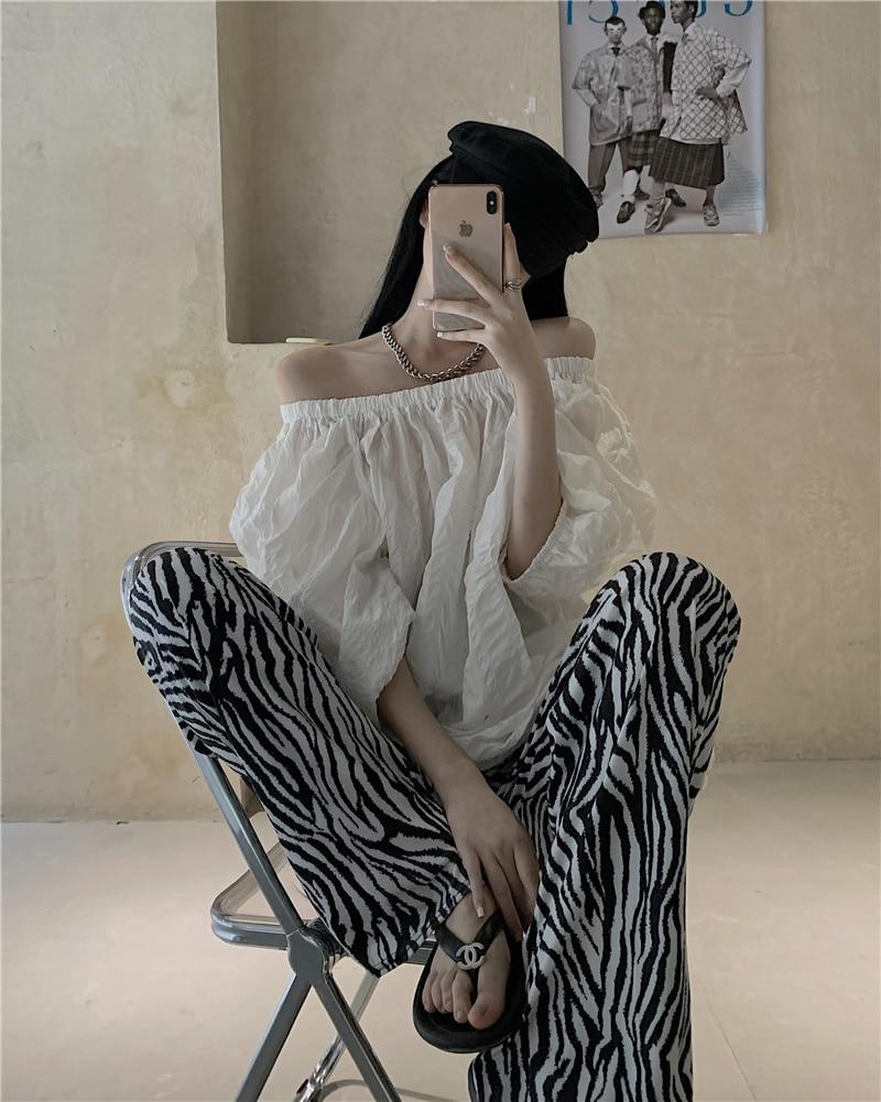 Spodnie na codzień kobiety rękaw typu bombka elastyczna off-ramię elegancka wyszczuplająca koszulka wzór zebry szerokie spodnie nogi dwuczęściowy zestaw