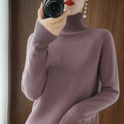 Autumn And Winter New Cashmere Women's Turtleneck Solid Color Pullover Sweater Loose All-Match Wool Knitted Office Lady Shirt