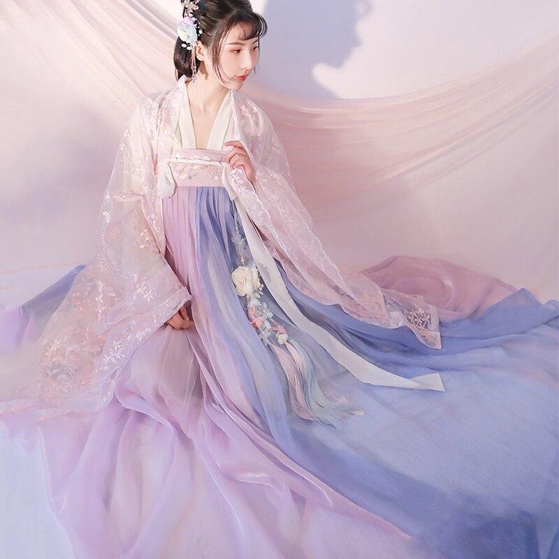Novo hanfu vestido feminino traje de dança clássica china antiga fada princesa traje tradicional rosa hanfu folk vestido sl1226
