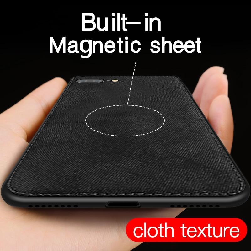Funda de tela magnética IIOZO para iPhone 7, 8 Plus, 6, 6 s, XS, Max, XR, X, ultrafina, textura de tela, funda de silicona suave para teléfono