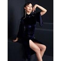 fu lang 2020 original designer dresses pearl split package buttocks sexy high elastic velvet improved cheongsam