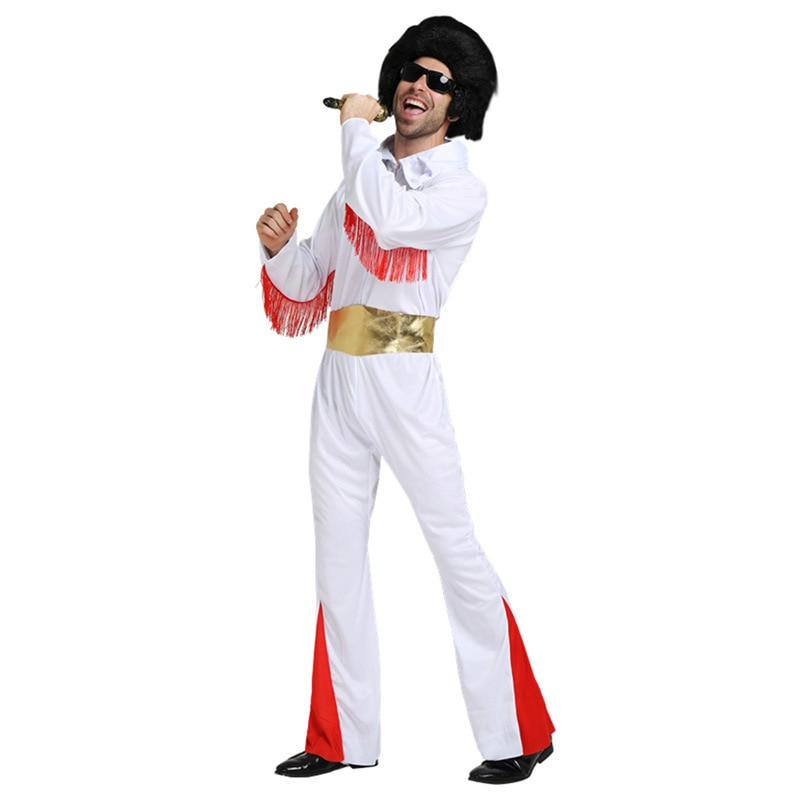 Cosplay Costumes Halloween Super Party Clothing Singer White Clothing Adult Elvis Presley Clothing Rock Star Performance cloth