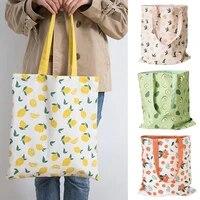 cherry print double sided dual use cotton linen handbag shopping storage bag