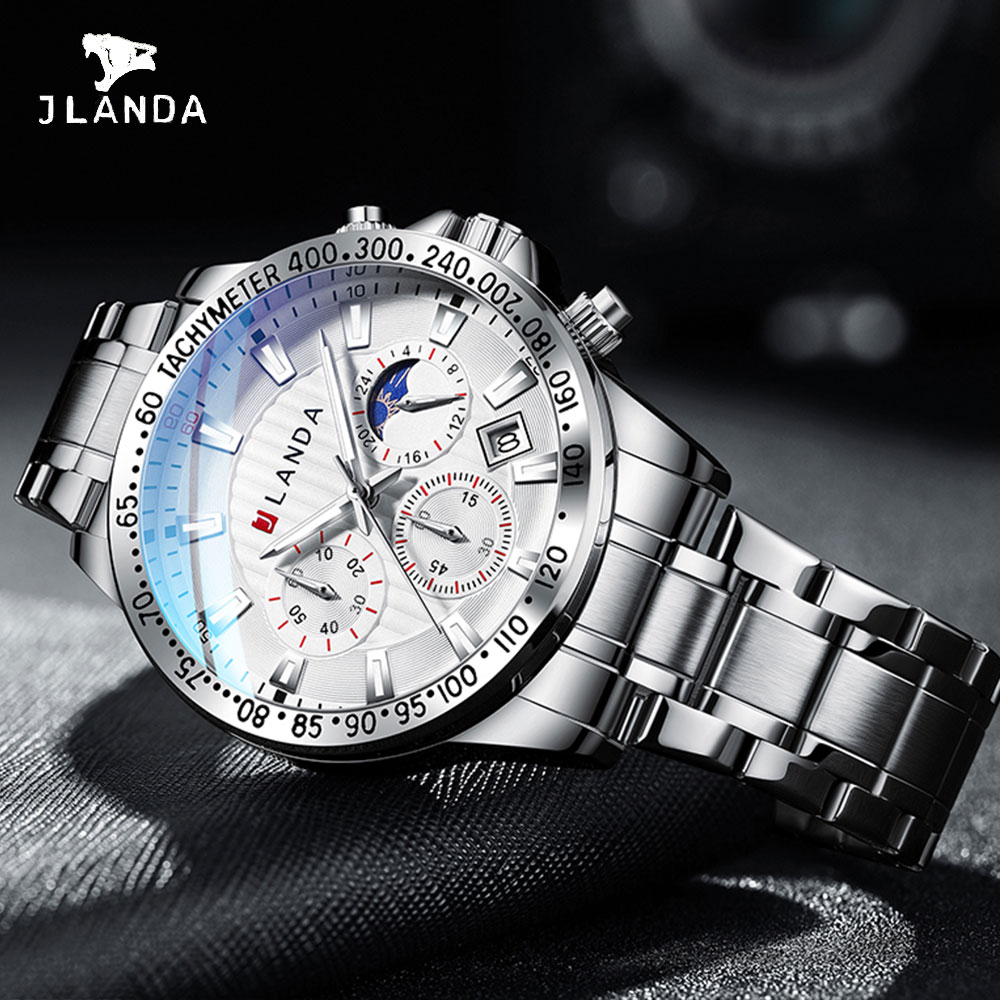 Men Watch Moon Phases Men Quartz Wristwatches JLANDA Top Brand Luxury Watch Water Resistance 3ATM Sp