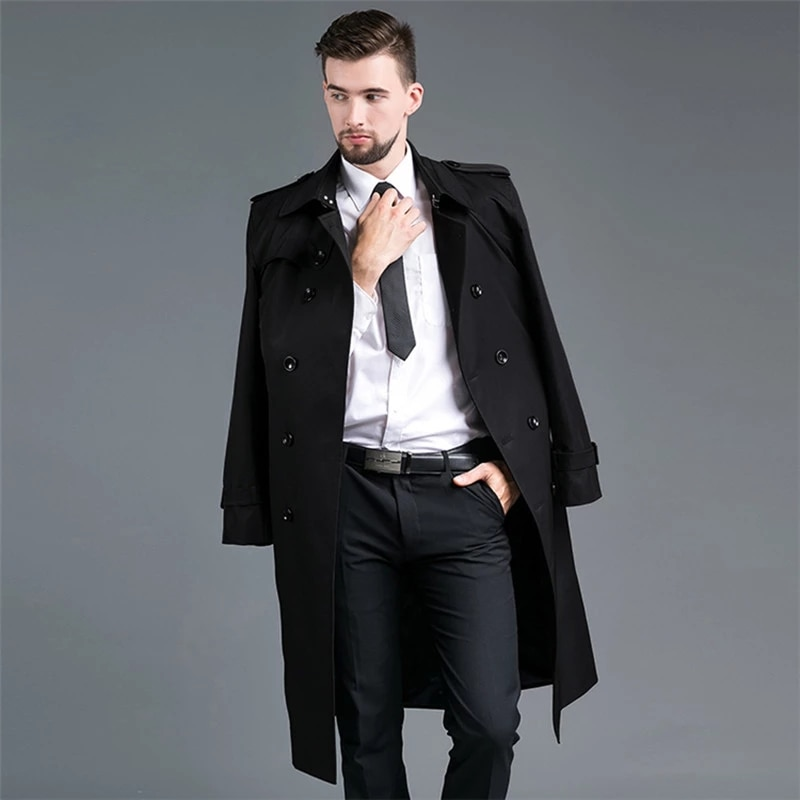 Men Brand Trench 2021 New Tops Men's Spring Autumn Slim Double Breasted X-Long Khaki Trench Coat Lapel Outerwear British Coat