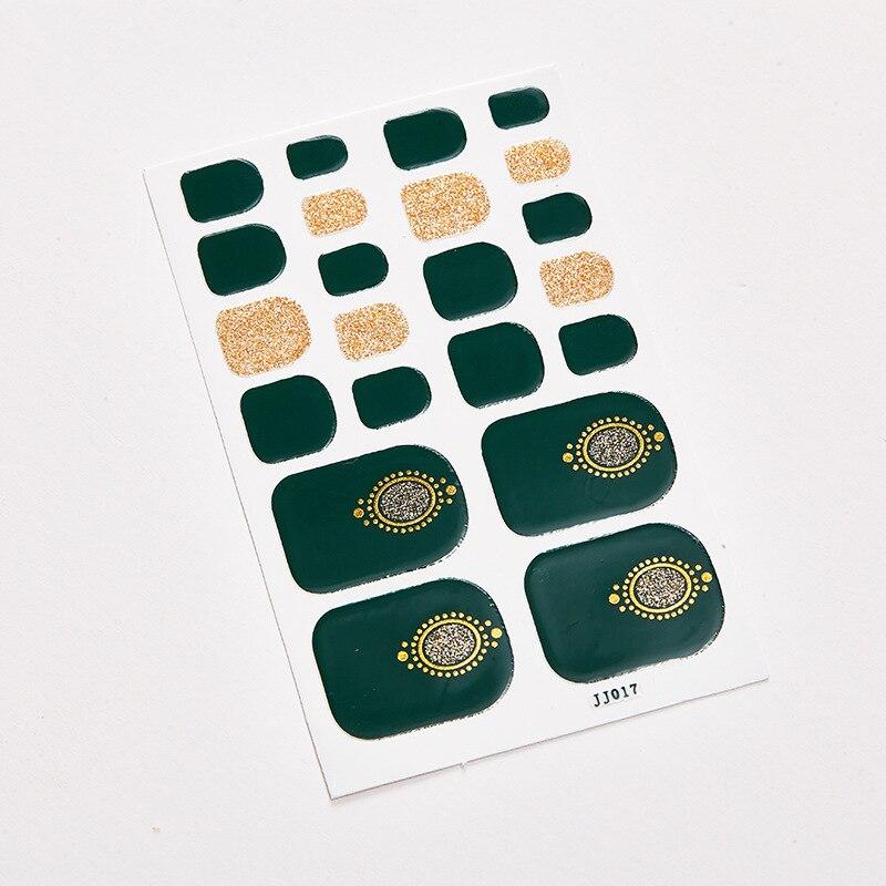 Oro rojo Floral mezcla de la uña del pie etiqueta azul estrellada Luna Calcomanía para manicura de la cubierta completa del dedo del pie suministros de decoración de uñas de pie etiqueta 22 consejos