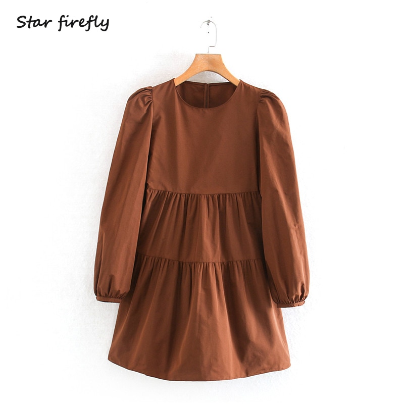 Star Firefly Fashion Za Dress Women 2019 Spring Round Neck Taffeta Lantern Sleeve Small Pleated Dress Female