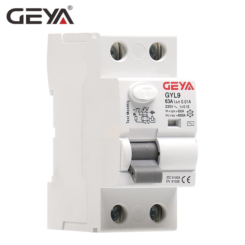 GEYA GYL9 AC Residual Current Circuit Breaker Differential Breaker Safety Switch 4P 40A 63A 100A ELCB FP 30mA 100mA 300mA
