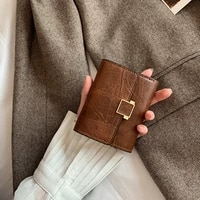 women wallets short fashion three fold pu leather metal hasp solid color female high quality coin purses cards clutch bag