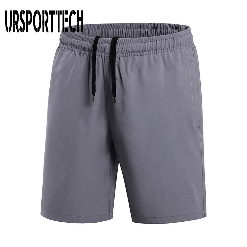 Летние мужские шорты оверсайз, повседневные спортивные шорты с эластичной резинкой на талии, мужские однотонные шорты до колена, брендовая ...