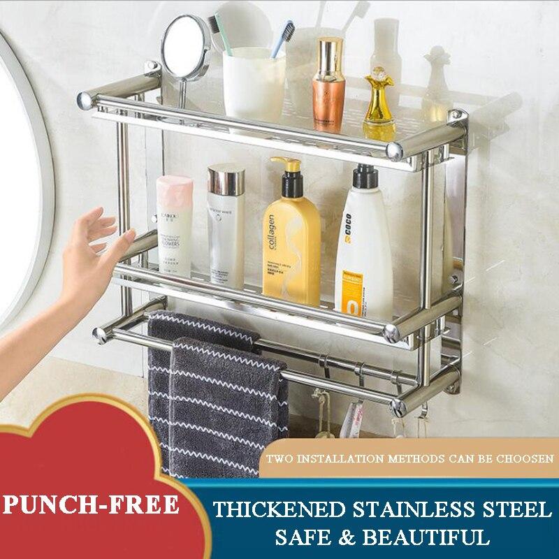 لكمة خالية رفوف الحمام الفضاء 1-3 طبقات المنزل المطبخ الحمام دش تخزين الرف الحائط اكسسوارات الحمام