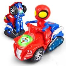 Déformation électrique moto musique Flash Led éclairage jouet Spiderman Robot enfants cadeau