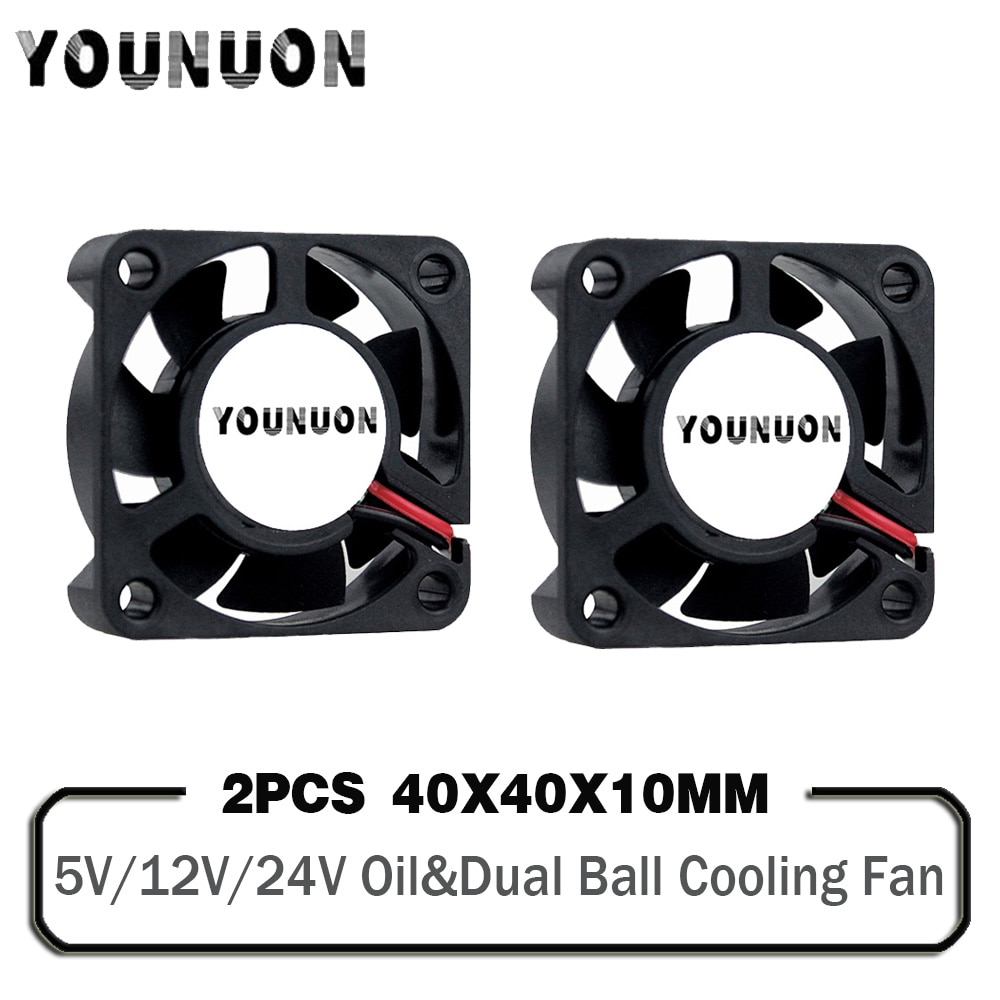 200pcs lot serviceable gdt 2pin 40mm 4010 axial fan 40mmx 40mm x 10mm dc cooling heatsink 2 Pieces DC 24V 12V 5V 40mm x 40mm x 10mm 2-Pin Ball Bearing Computer PC Case Cooling Fan 4010 3D Printer Fan