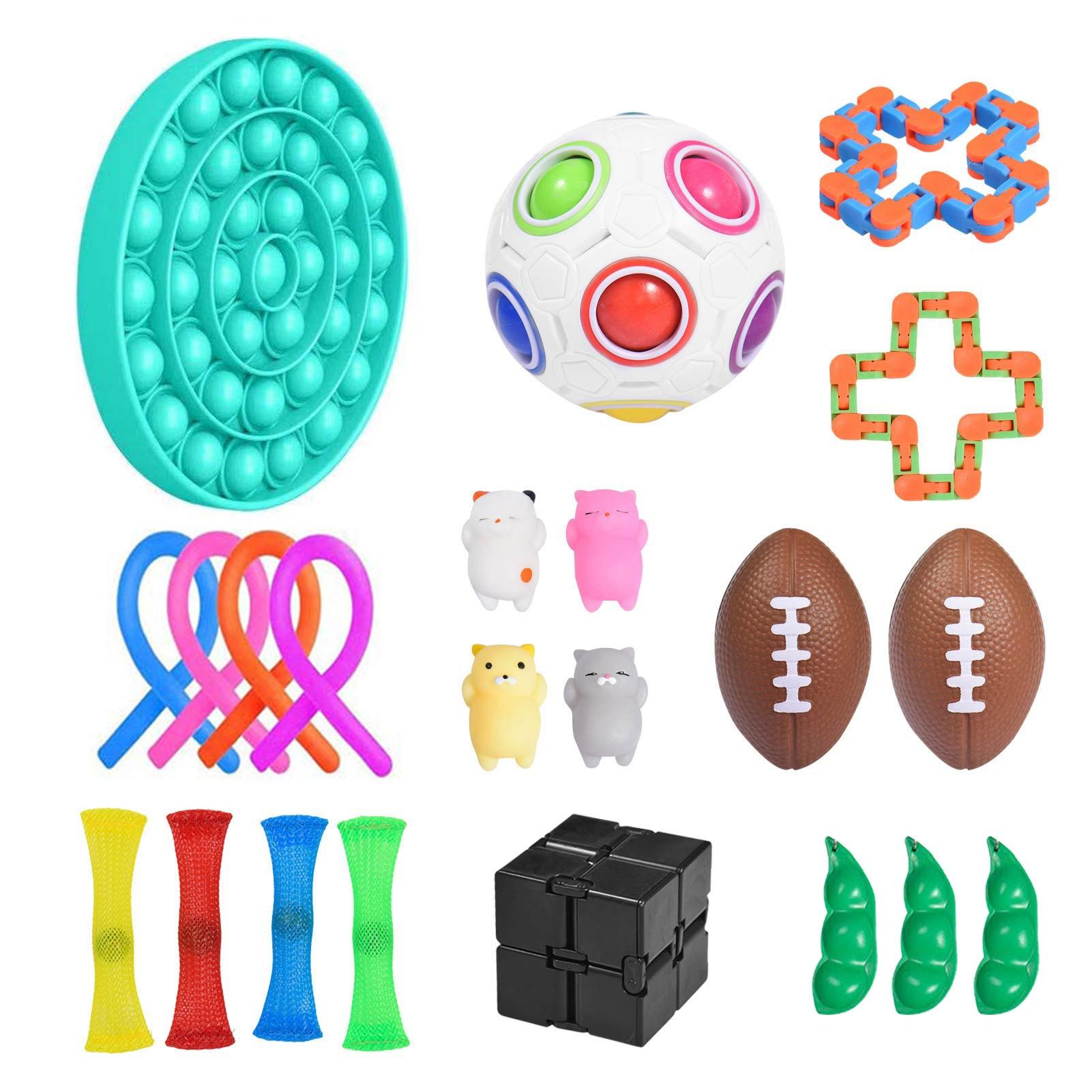 22 Pcs Fidget Pluck Sensory Toy Stick Wall Marble Ball Wall Set Stress Relief Pop Bubble Fidget Toys Kids Adults Antistress Toy enlarge
