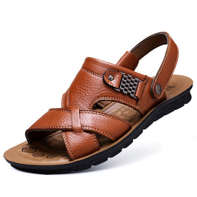 Large Size 46 Men's Outdoor Leather Sandals Summer Classic Men's Slippers Soft-soled Sandals Roman Comfortable Walking Shoes 2020 men casual leather sandals summer classic men shoes slippers soft sandals men roman sandals comfortable walking footwear