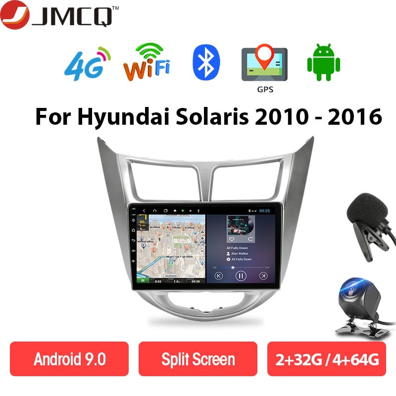 JMCQ 4G+64G Navigation GPS Car Android 9.0 For Hyundai Solaris1 Accent Verna 2010-2016 Head Unit Auto Radio 8 core FM subwoofer