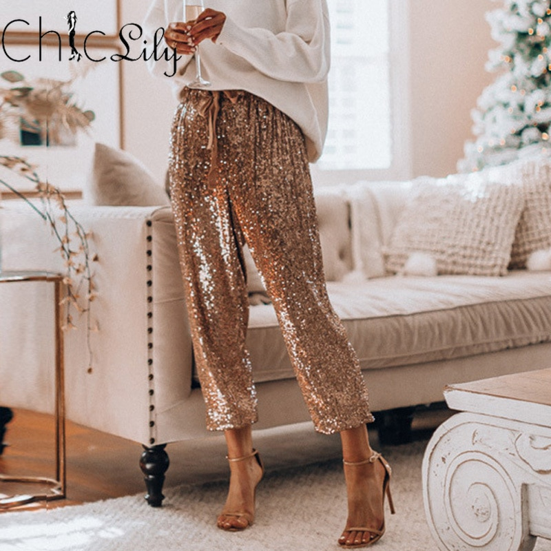 Chicliy Sequins Shiny Wide Beam Leg Pants Women Casual Christmas Party Harem Pants High Waist Lace U