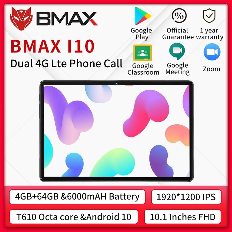 BMAX i10 10,1 Android 10 anruf Tablet 1920x1080 T610 Octa Core 4GB RAM 64GB ROM 4G Netzwerk Typ-c port Tabletten PC Dual Wifi