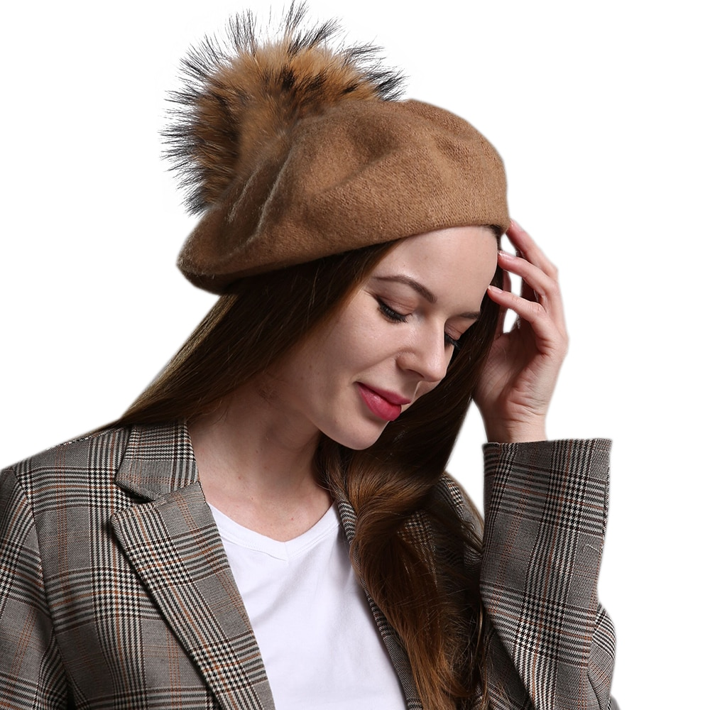 Autumn Winter 100% Wool Womens Beret Cap 15cm Big Real Natural Raccoon Fur Pompom Hat Mom Girls Pumpkin Hat For Women