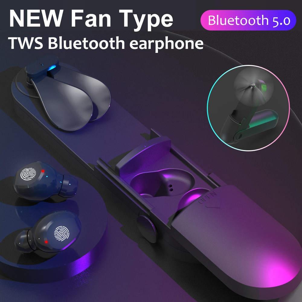 F7 TWS Bluetooth 5,0 Kopfhörer mit Fan Led-anzeige Drahtlose 9d Stereo Kopfhörer IPX7 Wasserdichte Headset lade fall 2000mah