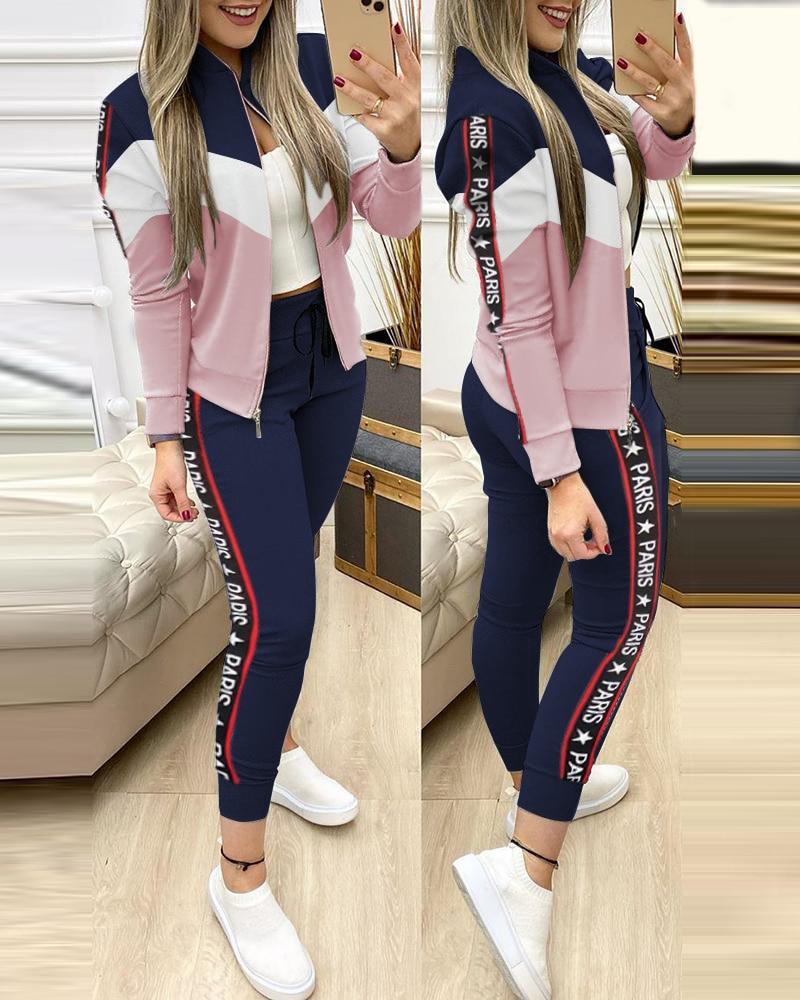 Fashion Tracksuit 2 Piece Set Autumn Winter Zipper Jacket + Long Pants Sports Suit Female Sweatshirt Sportswear Suit For Woman