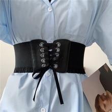 Internet Celebrity Overcoat Belt Women's Wide Fashion All-Match Elastic Waist Seal with Dress Shirt