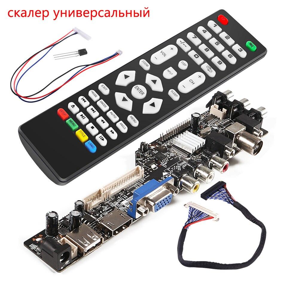 universal scaler kit 3663 TV Controller Driver Board Digital Signal DVB-C DVB-T2 DVB-T Universal LCD UPGRADE 3463A with lvds недорого
