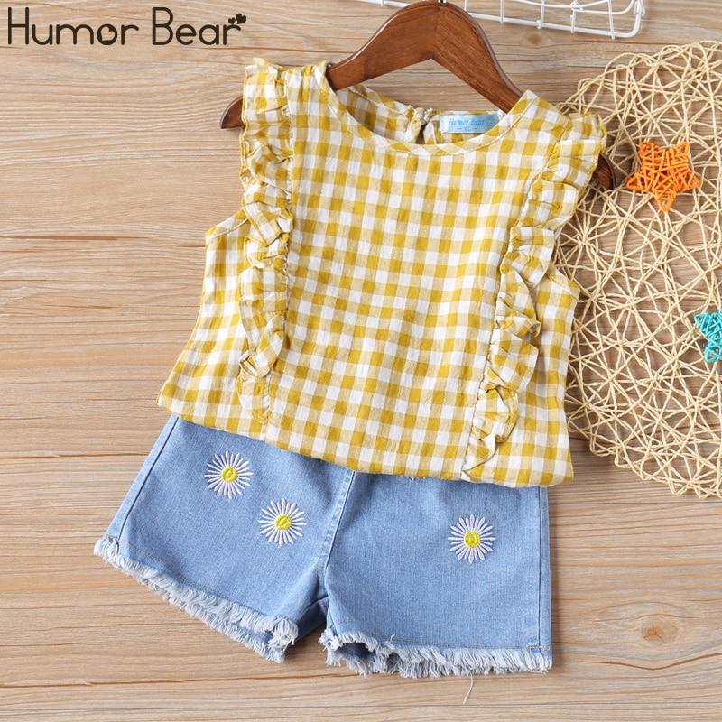 Humor Bear Girl Clothes Suit Summer New Plaid Sleeveless Top+Denim Shorts 2PCS Set Children Baby Kids Toddler Girls Clothing