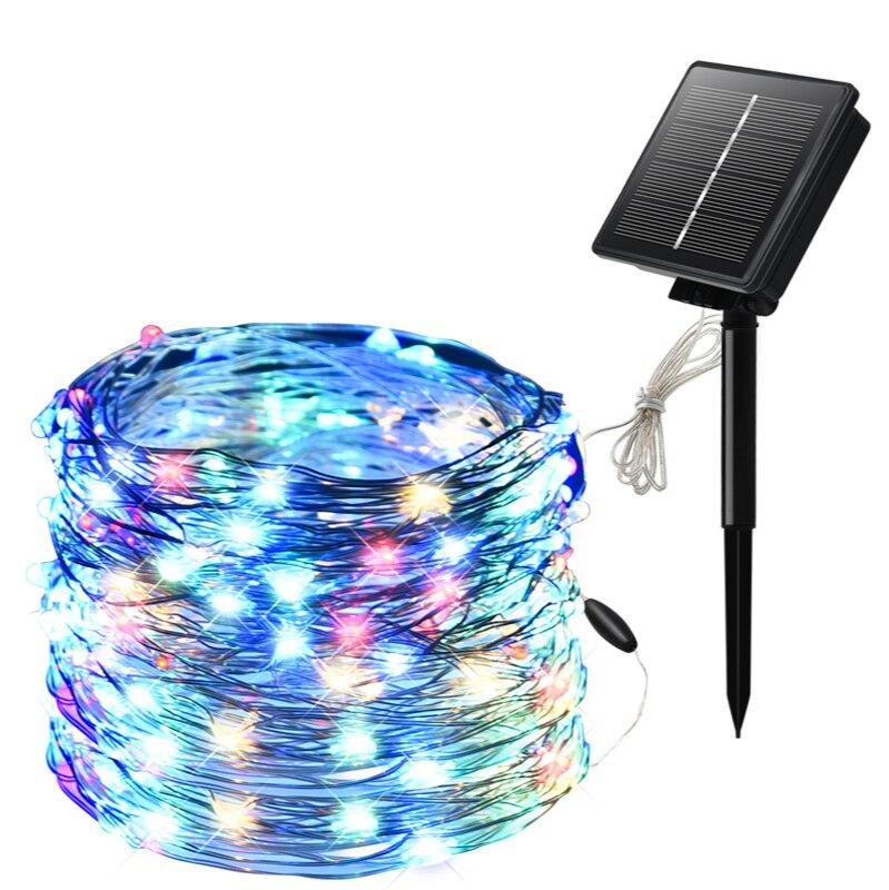 إكليل من الأسلاك النحاسية الشمسية 100 led مع لوحة شمسية ، ديكور حفلات الكريسماس ، إضاءة خارجية مقاومة للماء IP65