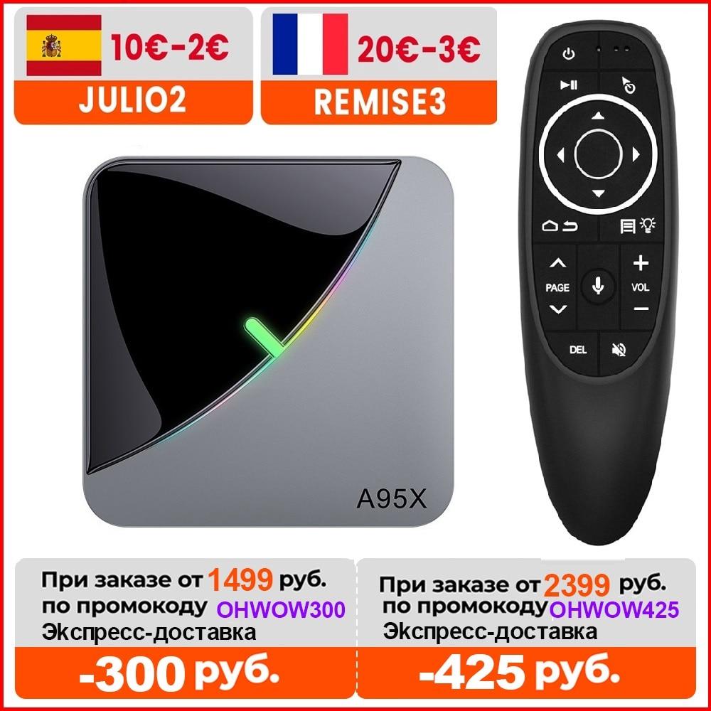 VONTAR 4GB 64GB RGB ضوء الذكية التلفزيون مربع الروبوت 9.0 A95X F3 الهواء Amlogic S905X3 واي فاي 4K 60fps دعم يوتيوب ميديا بلاير