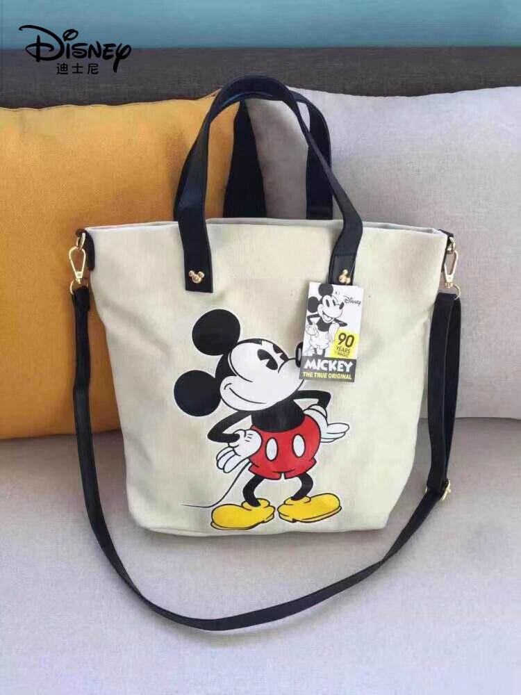 Disney Mickey Mouse Women Shoulder Bag Large Capacity Cartoon Lady 90th Handbag Girl Shopping Bag Fashion Hobos