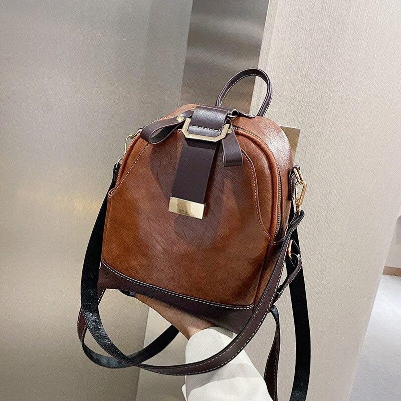 Модный женский кожаный рюкзак, маленький школьный ранец из искусственной кожи для девочек-подростков, винтажные двойные сумки на плечо
