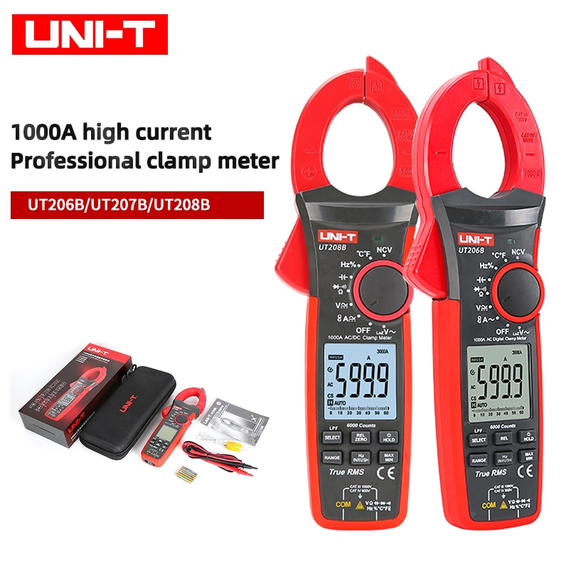 UNI-T UT206B UT207B UT208B true effective value digital clamp meter 1000A 1000V AC/DC current capacitance resistance tester