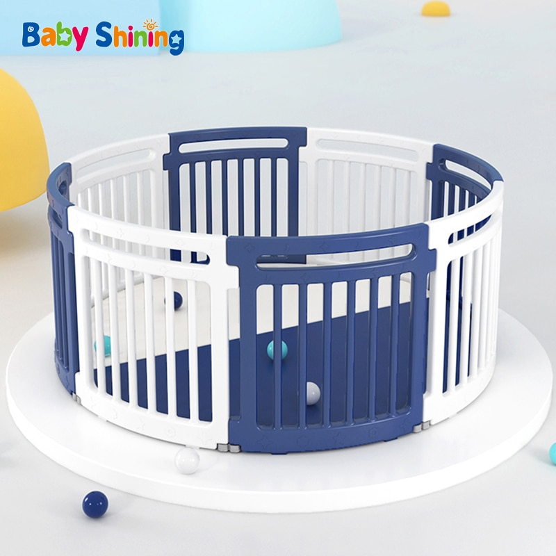 Baby Happy Play Fence Baby Indoor Home Crawling On The Ground Toddler Anti-Fall Fence Children's Round Amusement Park With Mat