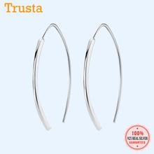 Trustdavis Echtem 925 Sterling Silber Glatte Stick Mond Hoop Ohrring Für Frauen Mode Silber 925 Schmuck Geschenk Großhandel DA401