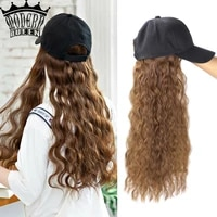 synthetic summer 22inch baseball cap hair wig wholesale fashion long curl wave baseball cap wig hair adjustable for girls party
