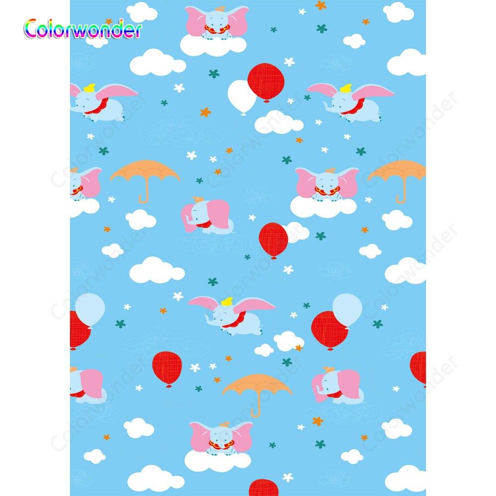 Dumbo воздушный шар зонтик фон для фотосъемки детей день рождения вечерние дети Душ фоны для фотостудии винил 7x5FT