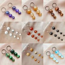 New Natural Stone Earings for Women Amethyst Agate Stone Opal Beaded Dangle Earring Korean Fashion J