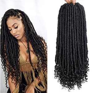 """Straight Goddess Locs Crochet Hair Braids for Prelooped Faux locs with Curly Ends Synthetic Hair 16""""20"""" Dreadlocks Braiding Hair"""