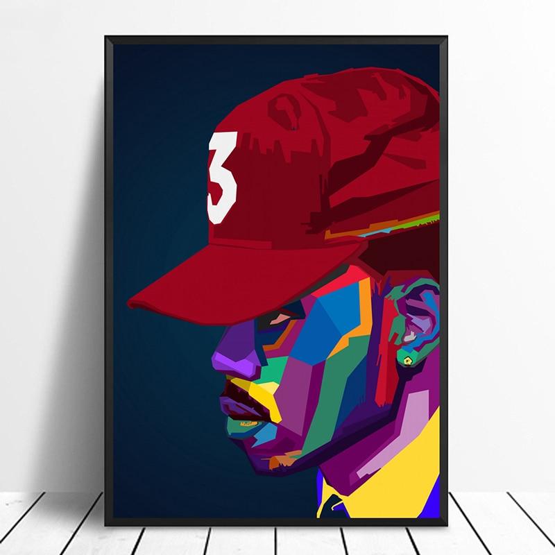 Chance The WPAP Pop Art Hiphop Rapper Music Singer Poster Print Wall Art Canvas Painting  Home Decor Canvas Print (No frame)