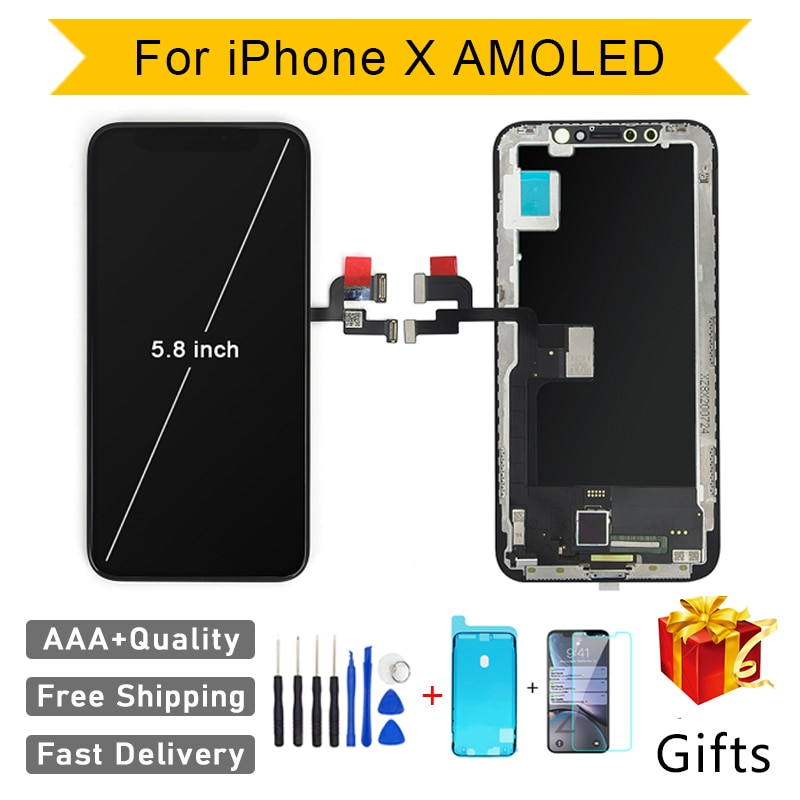 Quality AAA AMOLED GX No Dead Pixel For iPhone 11 Pro X XS Max LCD Display Touch Screen Digitizer Assembly Replacement Pantalla