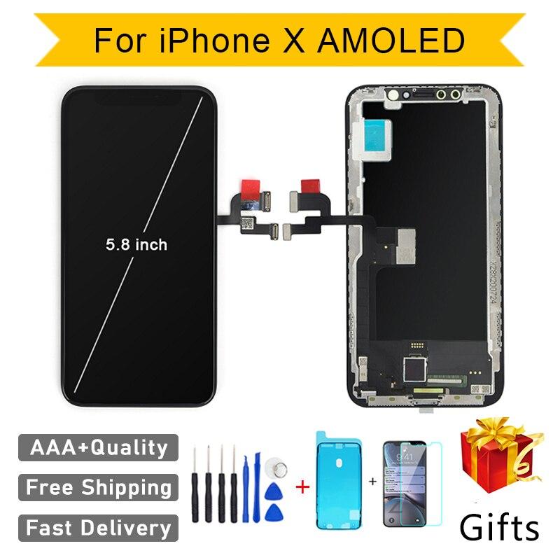 شاشة AMOLED LCD تعمل باللمس ، جودة AAA ، GX ، بدون بكسل ميت ، لهاتف iPhone 11Pro X XS Max