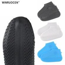 Capa de sapato de silicone reutilizável s/m/l impermeável sapatos de chuva cobre acampamento ao ar livre lavável borracha resistente ao desgaste reciclável