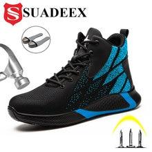 Рабочие ботинки SUADEEX, безопасная обувь со стальным носком, мужские ботильоны, походные ботинки, защитная обувь против пирсинга