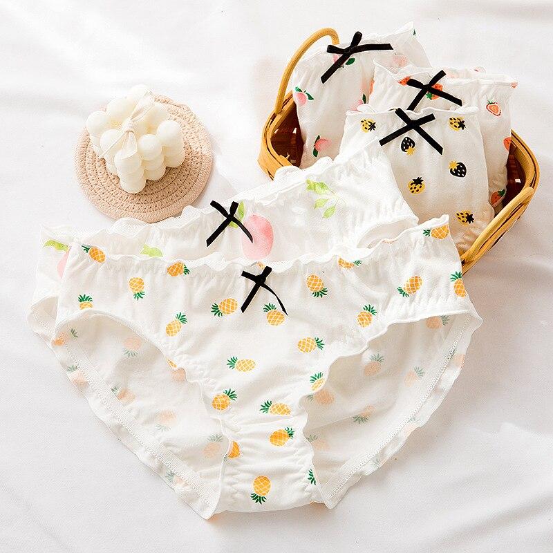 AliExpress - Cute Women's Underpants Girls Cartoon Panties Strawberry Fruits Cotton Thong Wrinkled Edges Breathable Underwear Briefs UW66