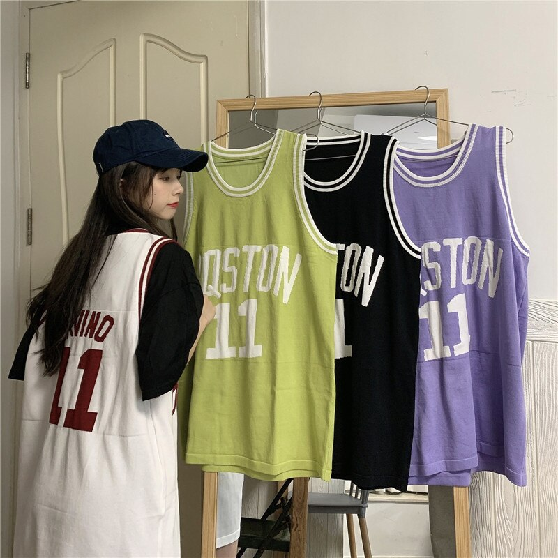 Basketball Vest Outer Wear Student Letters Loose Tee Shirt Femme Befree Plus Size Summer Top Korean