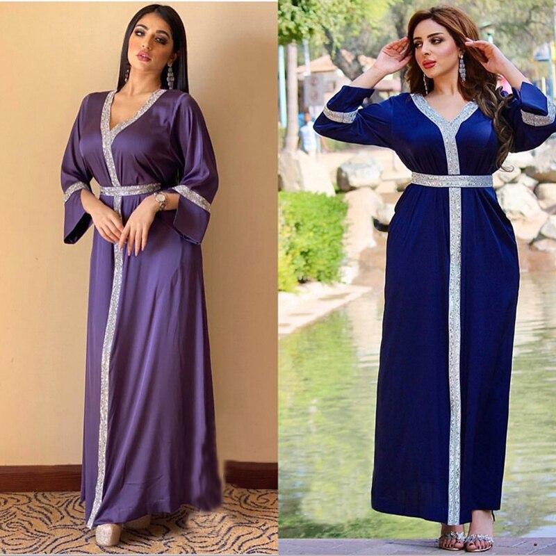 قفطان مغربي دبي عباية الحجاب الإسلامي فساتين تركيا عبايات للنساء رداء ستان طويل Musulman De Mode فام Vestidos