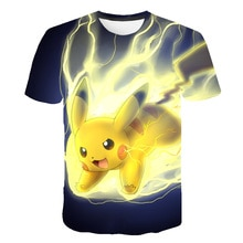 Новая футболка с 3D принтом «покемон», футболка с аниме «пикачу», летняя повседневная футболка в стиле хип-хоп для мальчиков и девочек, одежда с короткими рукавами, KPOP
