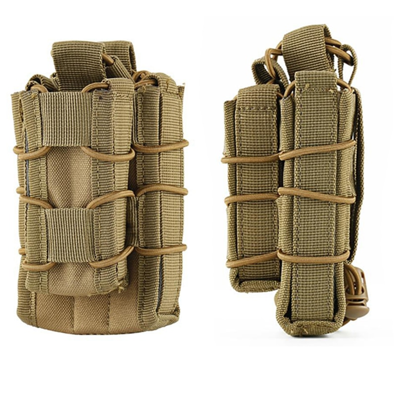 Tactical MOLLE Pistol Rilfe Double Magazine Mag Pouch Ammo Bag 5.56/7.62 9MM Hunting Gun Rifle Accessories M4 AK Glock AR15